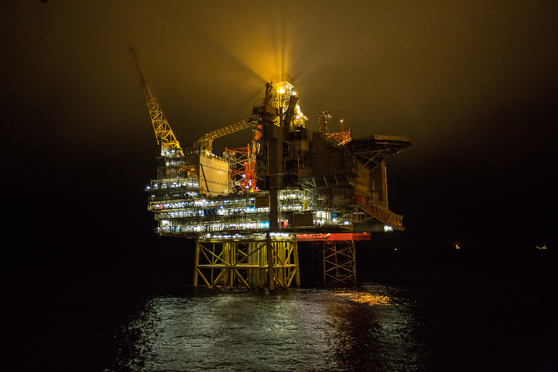Oil platform at night