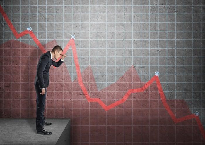 A businessman looking down a descending stock chart.