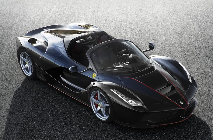 A black LaFerrari Aperta sports car.