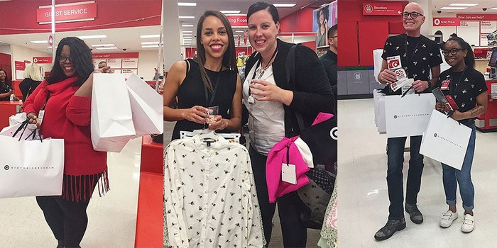 shopers smile for cameras in Target store