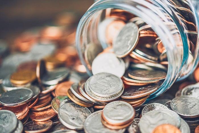 Coin jar spilling over