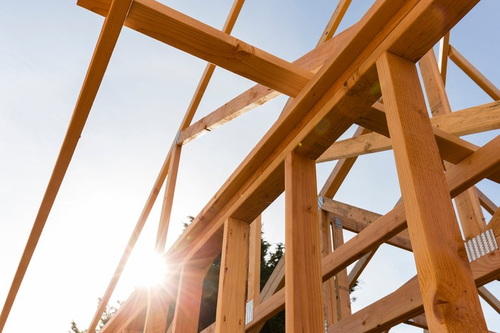 Trusses in a new home under construction