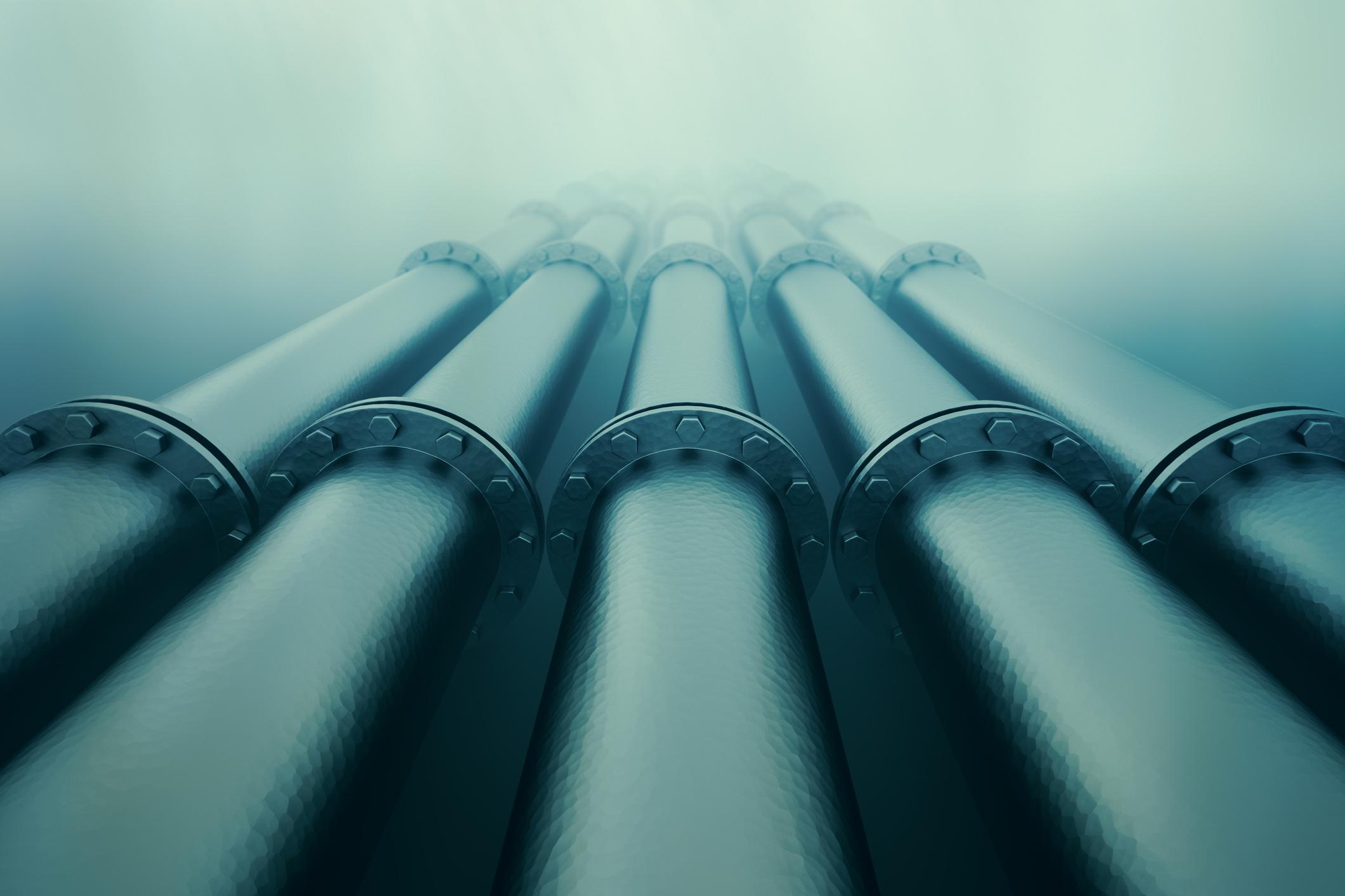 Pipelines underwater.