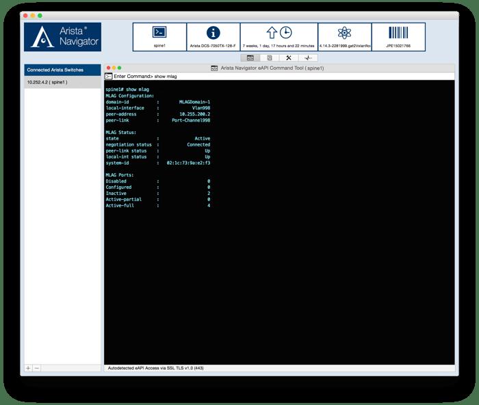 Arista Navigator platform screen.