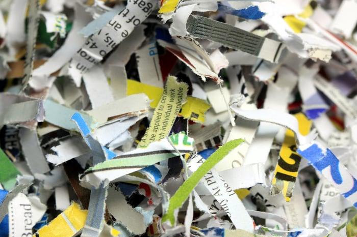 Shredded paper closeup.