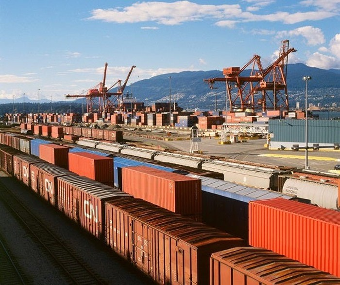Transmodal shipping containers at port in Vancouver