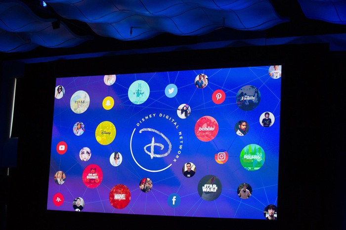 Projection screen showing various properties that will make up the Disney Digital Network.