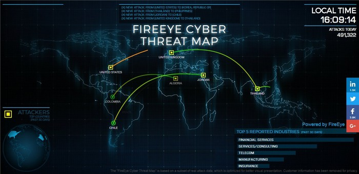 FireEye's real-time cyber threat map.