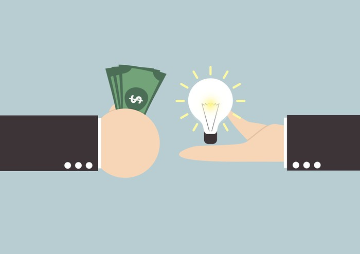 Illustration of a light bulb being exchanged for a fistfull of cash.