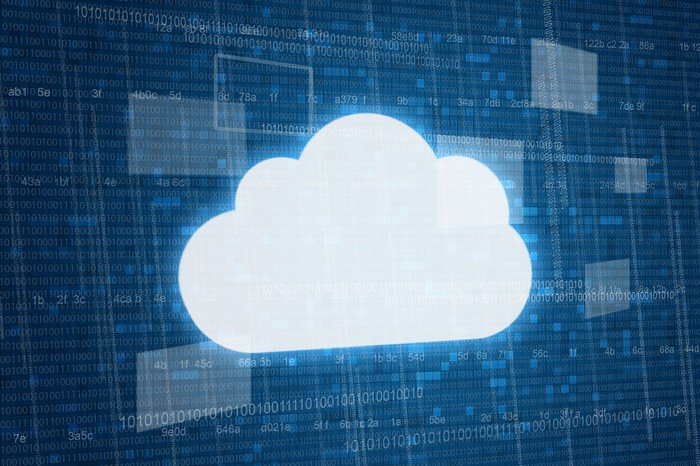 An illustration of a cloud, which connotes cloud computing, which IBM and Microsoft are both pursuing as an important strategic priority.