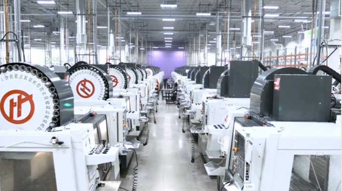 Computer numerical contrrol (CNC) machines, which are used for metal working, inside a Proto Labs location.