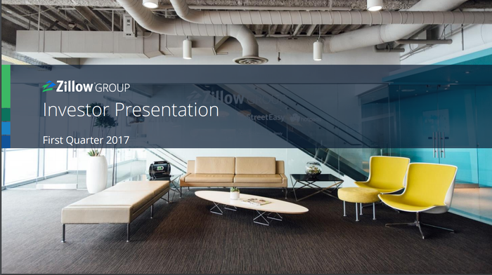 A Zillow lobby is shown in the background of a Q1 presentation slide.