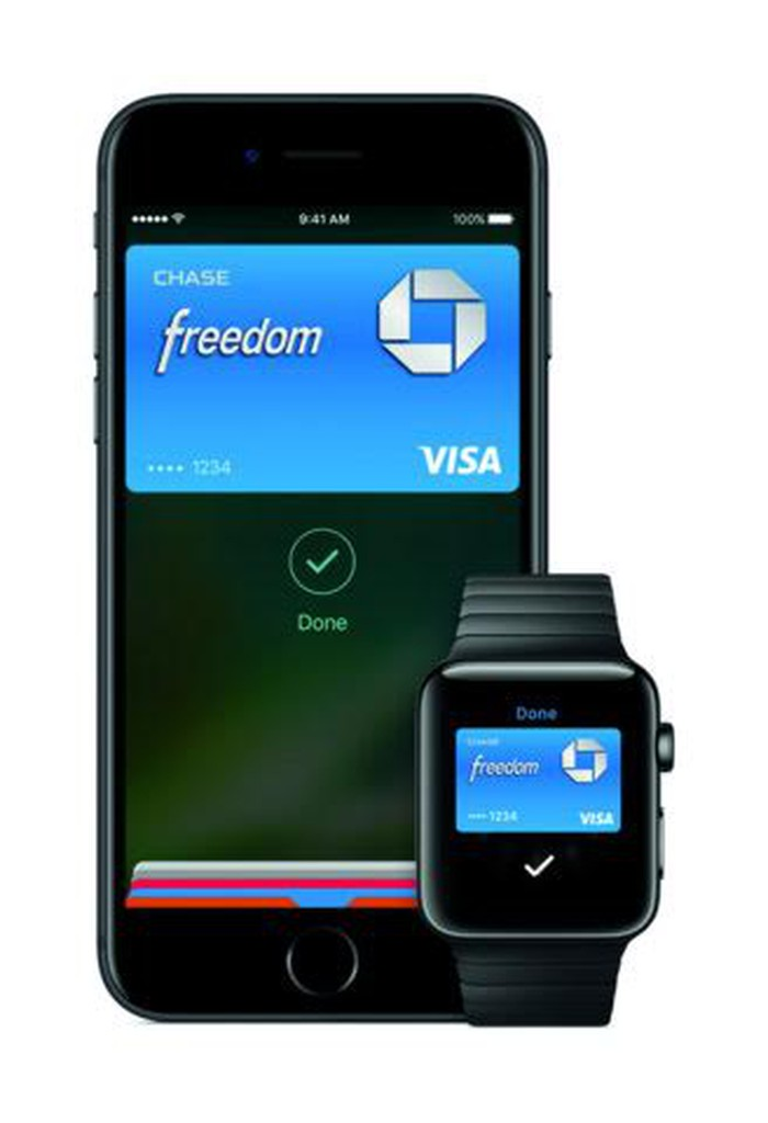 An iPhone and Apple Watch showing the Apple Pay screen.