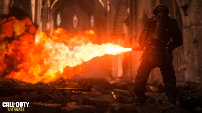 A video-game soldier firing a flame thrower.