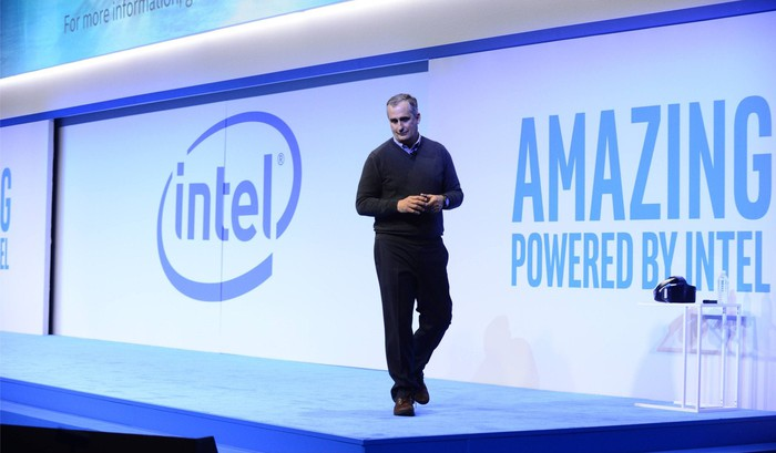 Intel CEO Brian Krzanich speaks on stage.