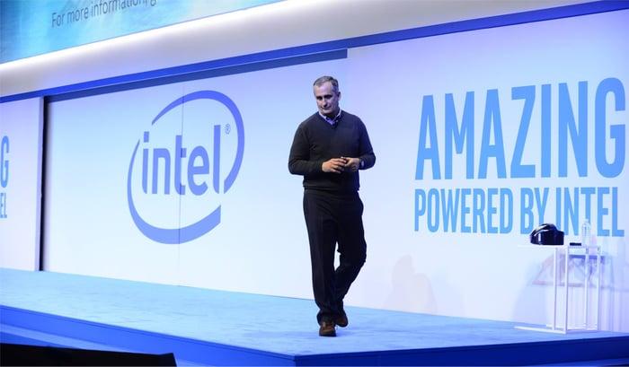 Intel CEO Brian Krzanich speaks on stage.