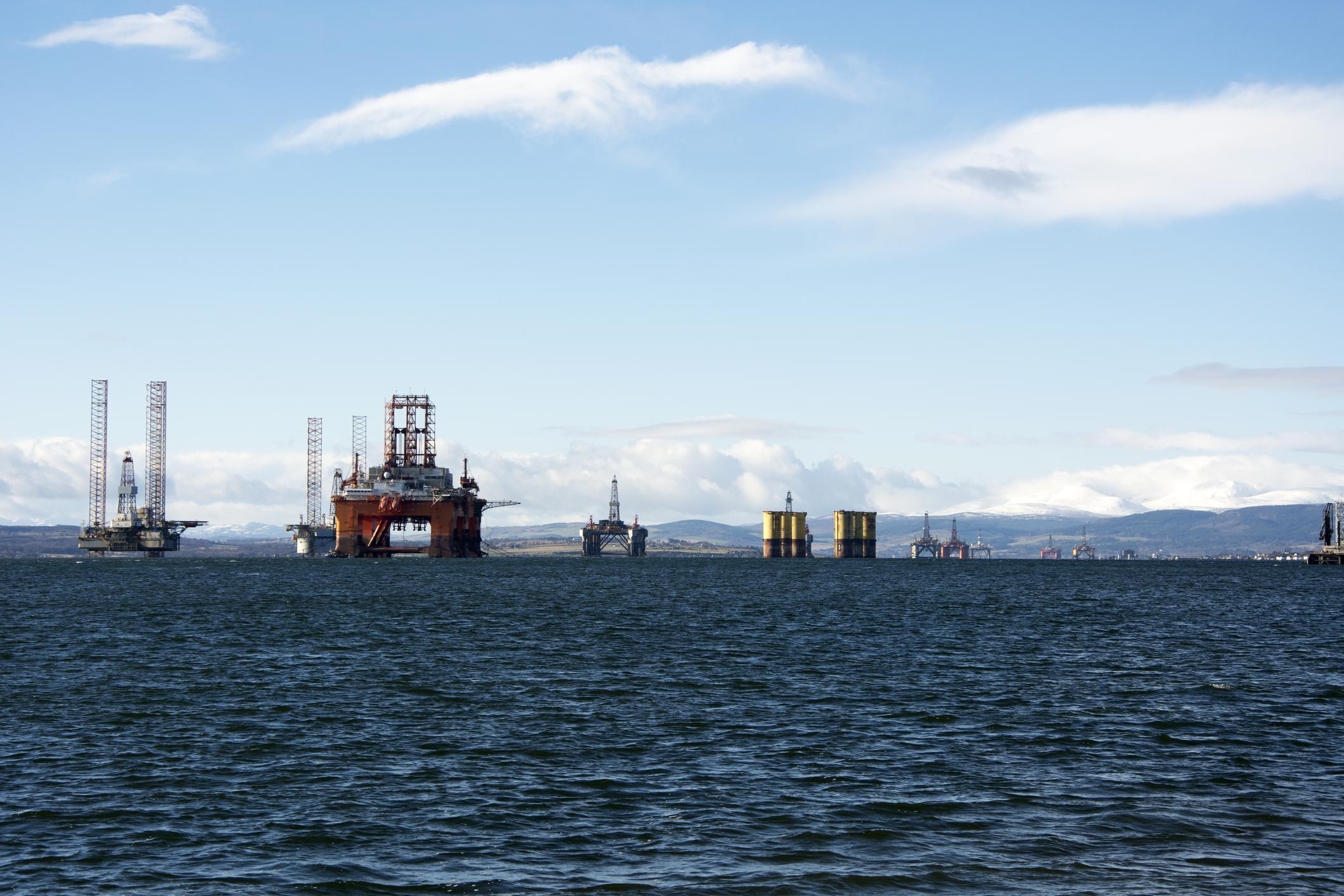 Offshore rig fleet in port.