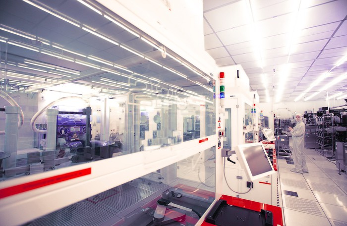 A clean room at a Tower Semiconductor facility.