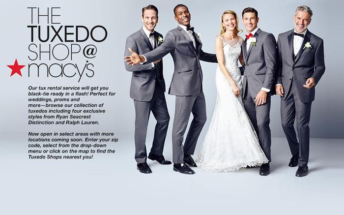A Macy's Tuxedo Shop ad.