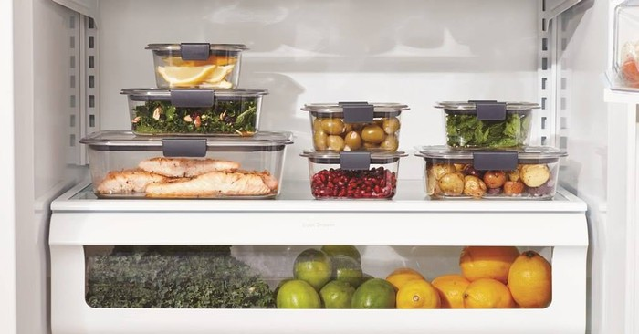Rubbermaid containers in a refrigerator.
