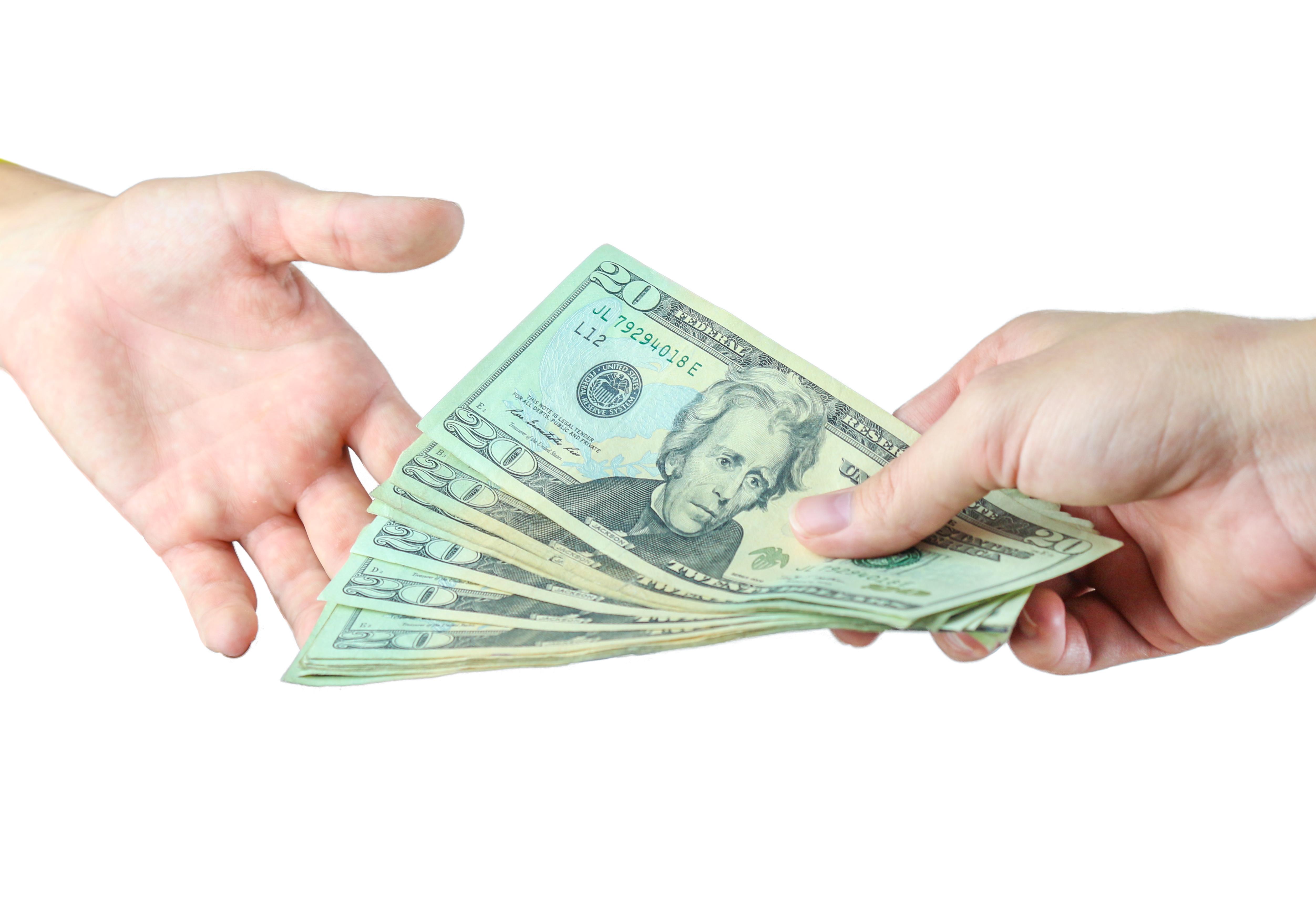 Money changing hands.