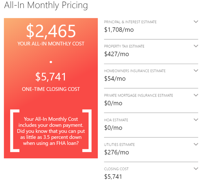 """RealEstate.com """"All-In Monthly Price"""" calculator showing a breakdown of housing costs."""