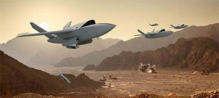 An artist's depiction of drone fighter jets.