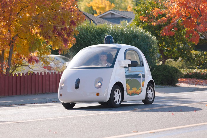 Google's self-driving car driving down a road.
