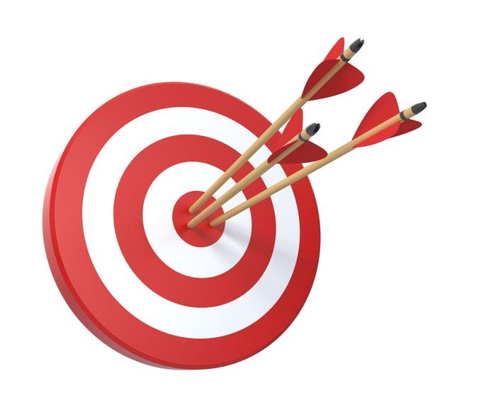 Bullseye target with three arrows in it.