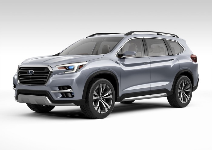 The Subaru Ascent concept vehicle, a silver SUV.