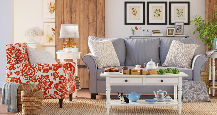 A Wayfair-decorated living room