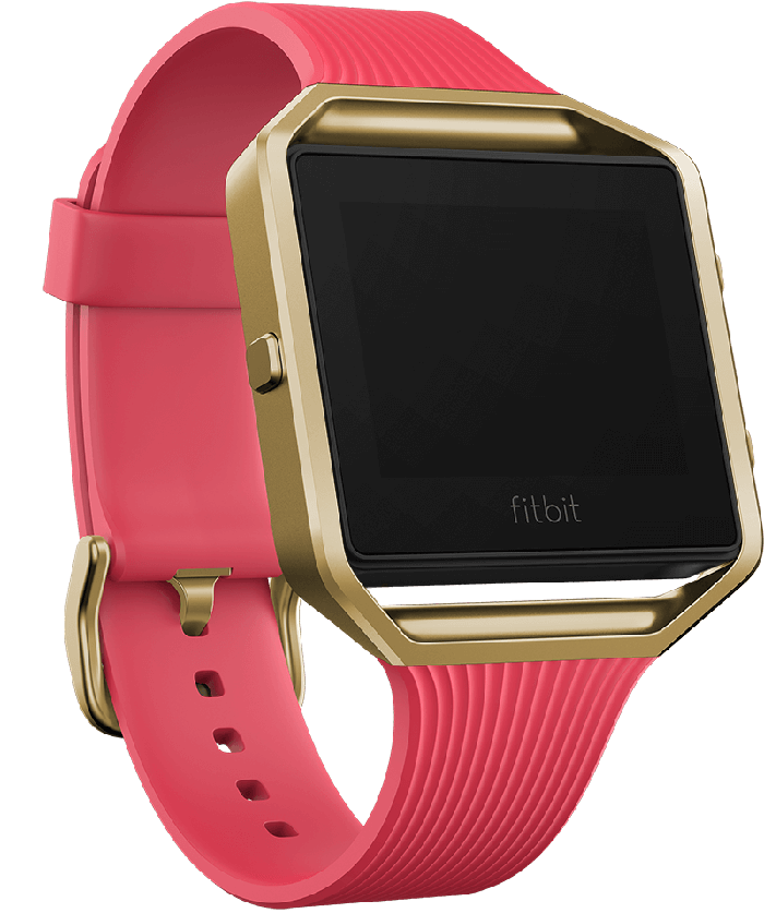 The Fitbit Blaze, which has a square digital screen with rounded edges, pictured in gold and pink.