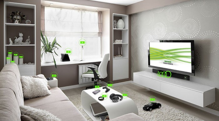 A living room with device that use wireless electricity.