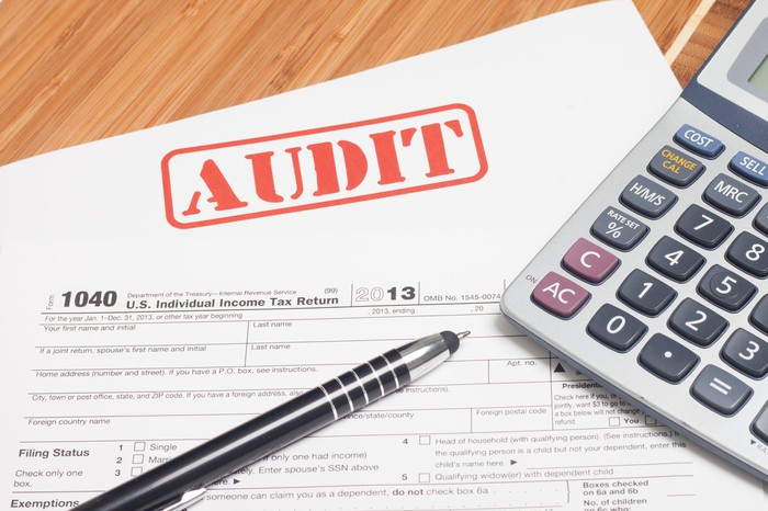 """A calculator and pen sit on top of a tax form marked """"audit."""""""