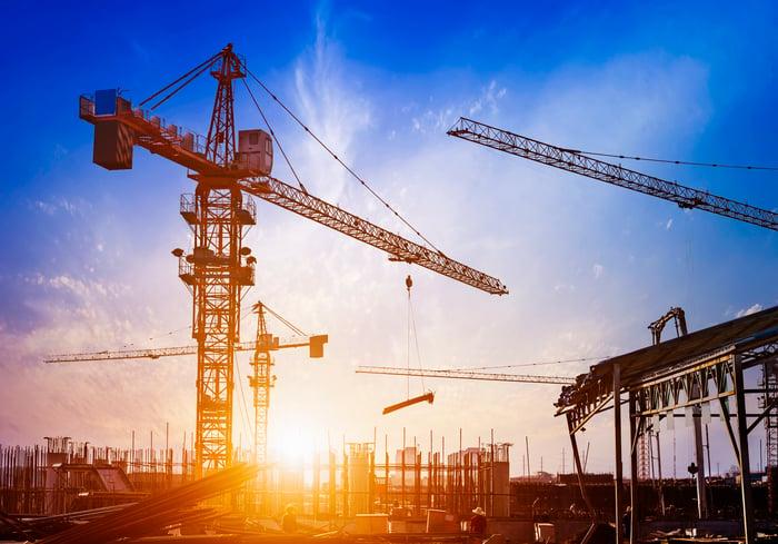Cranes at a large construction site