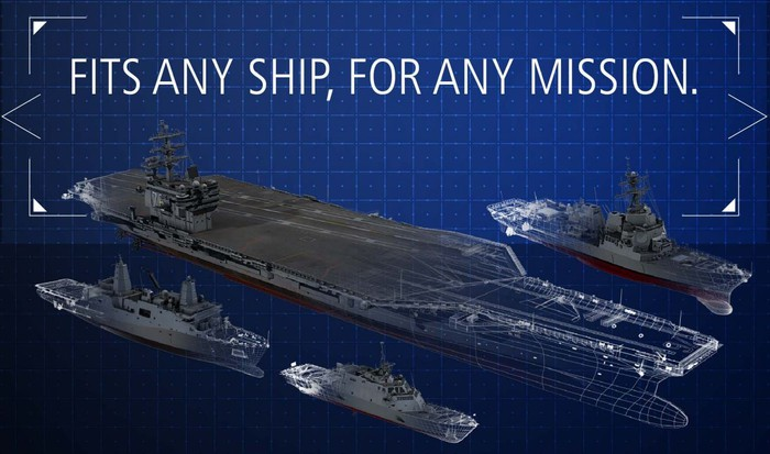 Infographic showing ships on which AMDR could be installed.