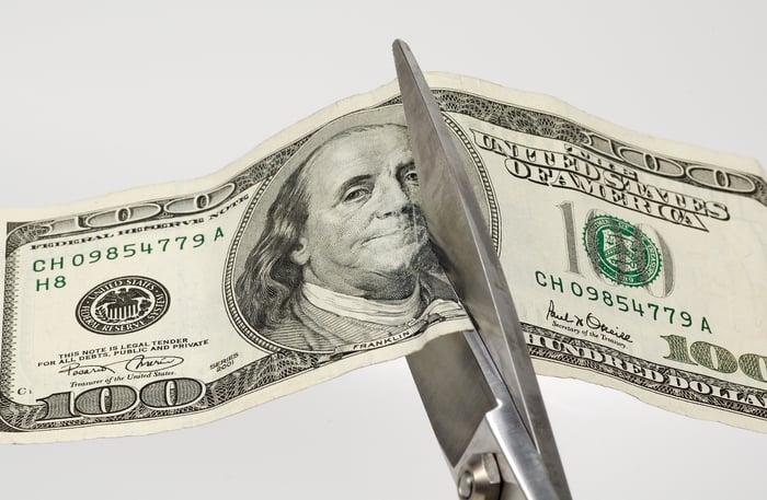 A pair of scissors cutting through a hundred dollar bill.