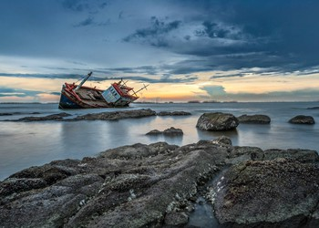 Shipwreck on Rocks
