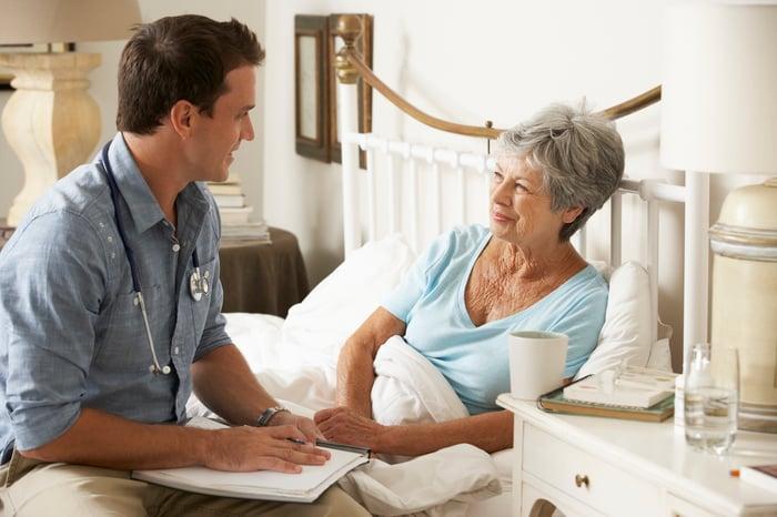 Doctor with elderly patient in bed.