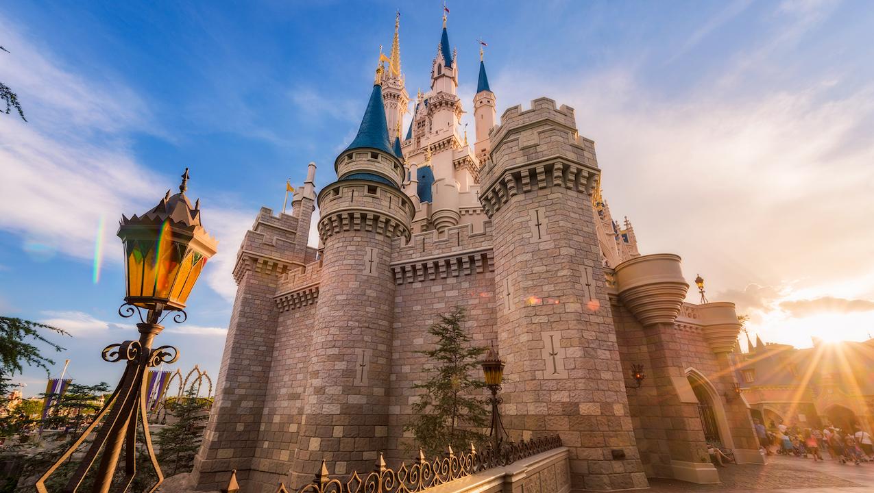 A side view of Dsiney's theme park castle.