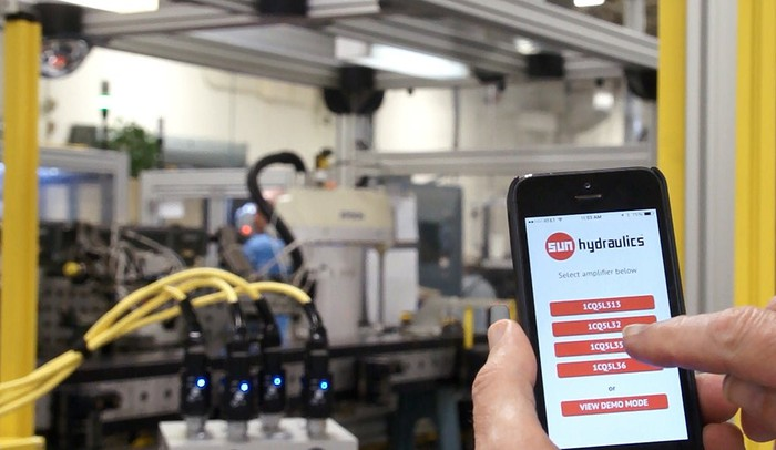 Sun Hydraulics components being controlled with a smartphone app.
