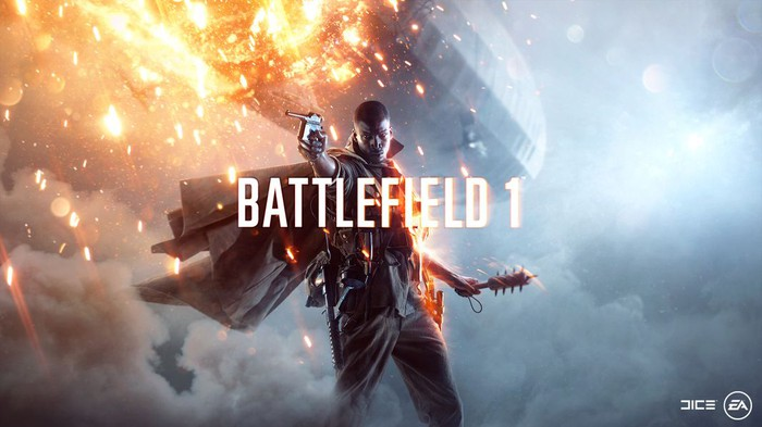 The title cover of Electronic Arts' Battlefield 1 game.