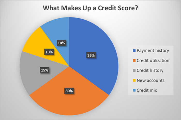 Chart showing factors that go into a credit score