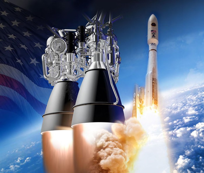 AR-1 rocket engine, against a stylized background with a blue sky, rocket, and American flag