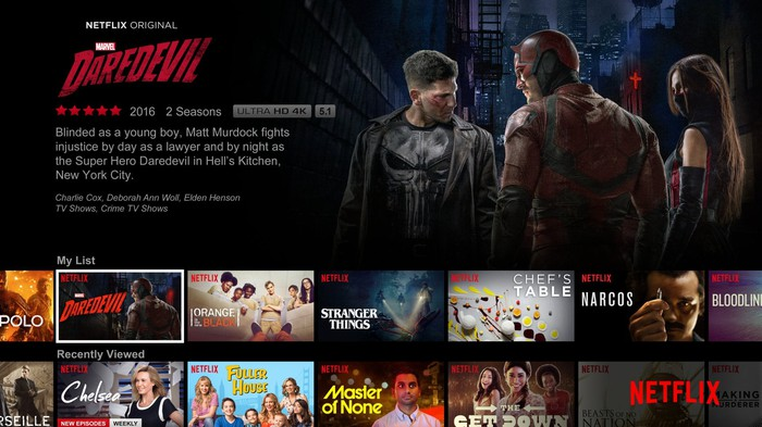"A screenshot of Netflix's app with ""Daredevil"" featured prominently at the top."