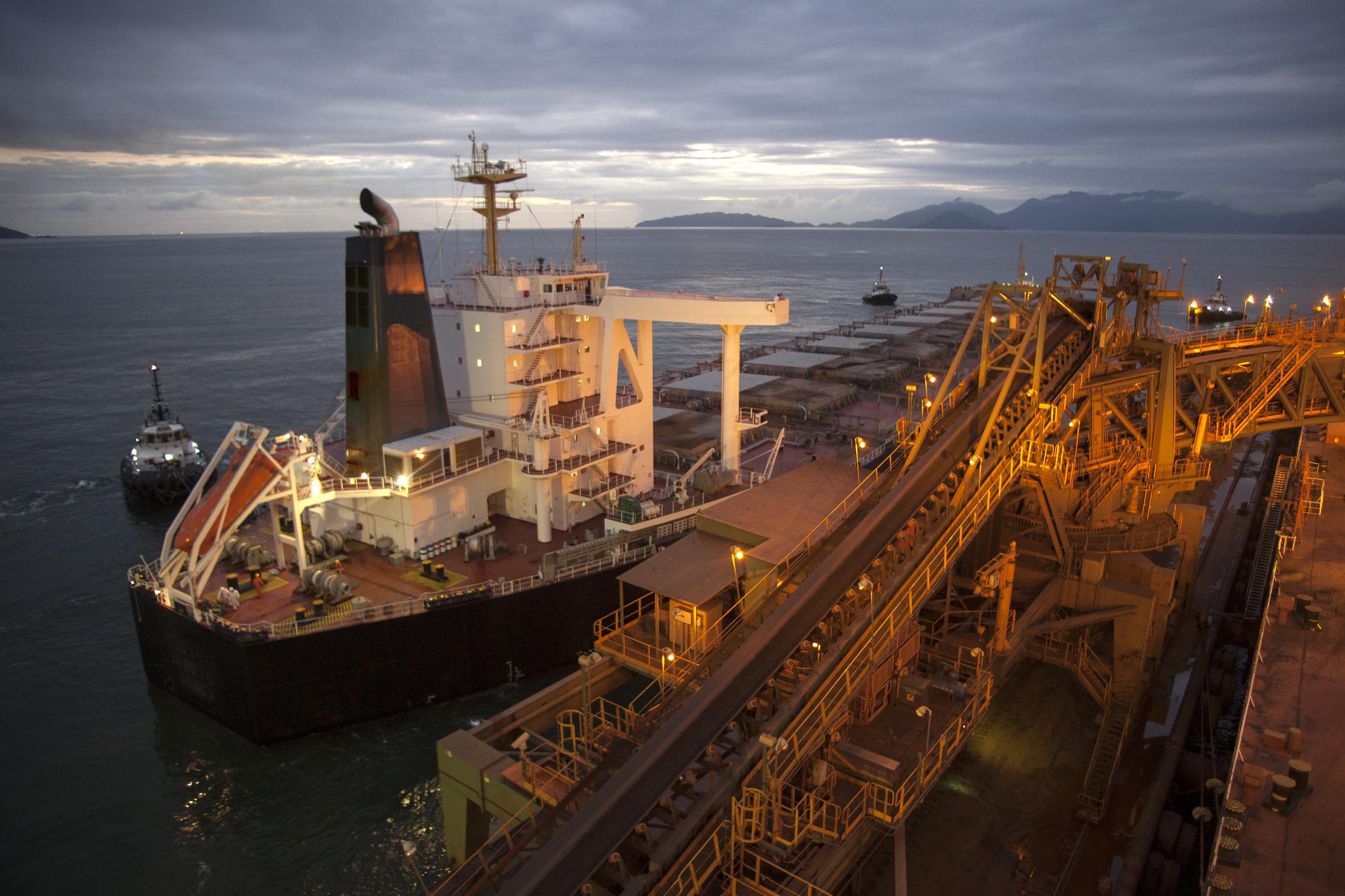 Bulk carrier leaving the loading terminal.
