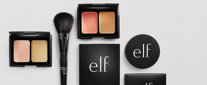 A display of beauty products with the elf logo on them.