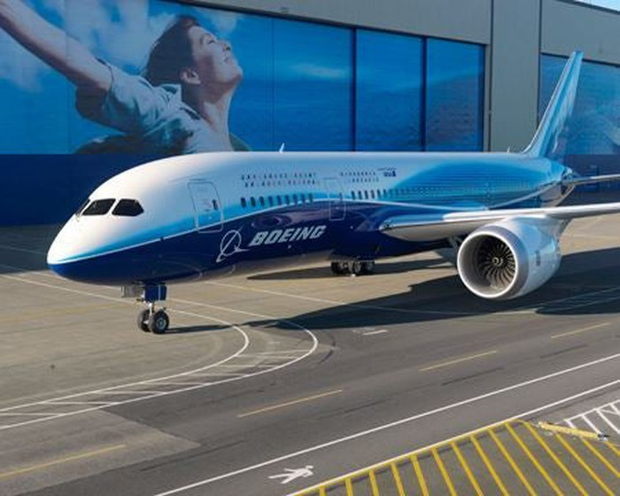 The Boeing 787-8 at its rollout ceremony