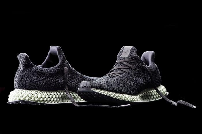 Pair of adidas' Futurecraft 4D running shoes.