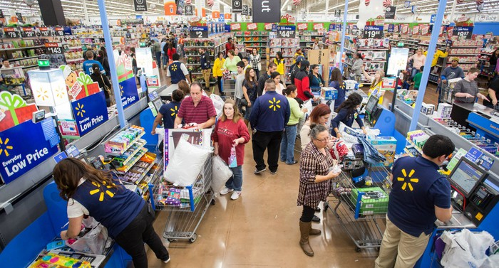 A Wal-Mart store on Black Friday is packed with customers